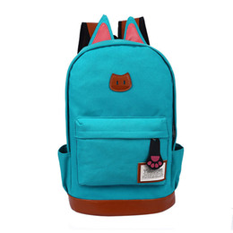 good quality girls school bags 2019 - good quality 2019 Canvas Backpack For Women Cat Ears Women Backpack Girl Mochila Escolar Cartoon Backpack School Bag Ruc