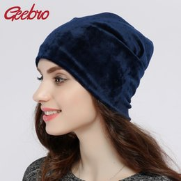 5543e6cce0758 Geebro Brand 2017 Women s Hat Skullies Beanies Polyester Knitted Hats  Beanie Hat Spring Casual Velvet Women Beanies Hats JS277A S18120302