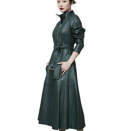$enCountryForm.capitalKeyWord Australia - Cool Leather Long Jacket 2019 New Spring Women Loose Belt Genuine Leather Windbreaker Trench Coat Slim Autumn Sheepskin Jacket
