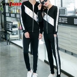elastic waist jacket 2020 - Spring Autumn Unisex Men Casual Sportswear Suit Fashion Long Sleeve Zipper Jacket Striped Elastic Waist Pants Two Piece
