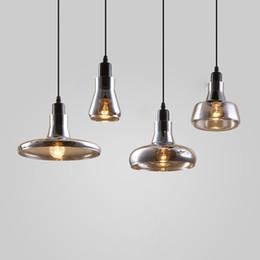 Loft Pipe Australia - Loft Glass Pendant Light Smoke Grey Edison Hanging Light Fixture For Kitchen Bar Living Room E27 bocci Droplights