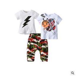 Discount cotton harem kids - Girls 3 Piece Outfits Summer Cotton Cartoon Bee Flash Printed T Shirt Tops Harem Pants Clothing Set Toddler Girl Kids Bo
