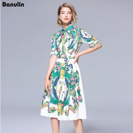 9deef21818 Banulin Catwalk New High Quality Runway Designer 2018 Spring Fashion Women S  Party Office Girls Flower Print Short-Sleeved Dress D190111205