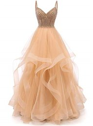 Spaghetti Strap Beaded Cocktail Dresses UK - Tulle Crystal Beaded Prom Dresses Tiered Formal Evening Dresses Spaghetti Strap Ball Gown