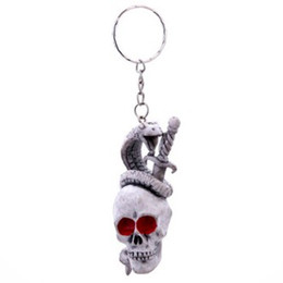 Toy Swords Wholesale NZ - HALLOWEEN PUNK TOY SWORD VENOM VIPER SKULL KEYCHAIN KEYRING KEY ACCESSORIES UNISEX FUNNY CUTE PERSONALIZED BAG BACKPACK KEYCHAINS KEYRINGS