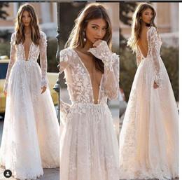 EuropEan modEls lacE drEss online shopping - Sexy Deep V Neck Lace Appliques A Line Wedding Dresses Floor Length Formal Long Bridal Gowns European Fashion Robe De Mariee Backless