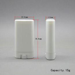 $enCountryForm.capitalKeyWord Australia - 15g Plastic Empty DIY Oval Lip Balm Tubes Portable Deodorant Containers Clear White Lipstick Fashion Cool Lip Tubes 30lots
