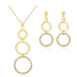 gold set jewelry for children 2019 - HC Fashion Funny Round Necklace Sets for Girl Kids Jewelry Set Elegant Gold Color Crystal Set Jewelry for Children Party