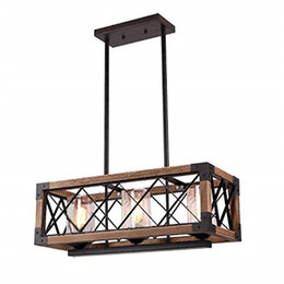 $enCountryForm.capitalKeyWord Australia - European style retro industrial wind loft wood chandelier Rectangle Wood Metal Pendant creative wood lamp restaurant living room lighting