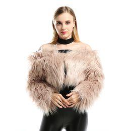 White Faux Fur Shorts UK - European and American Fur Coat New Sexy Plush Word Collar Faux Fur Artificial Hair Ultra Short Coat Shawl Cardigan Women