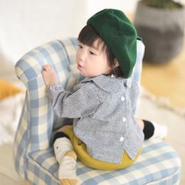 Korean Baby Flowers Canada - Korean Style Spring Autumn Baby Girls Kids Coats Coat Long Sleeve Blouses Cute Plaid Flower Pocket Shirt Jackets For Babies