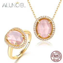 $enCountryForm.capitalKeyWord Canada - ALLNOEL 925 Solid Sterling Silver Rose Quartz Jewelry Set For Women Real Oval Gemstone Pendants Necklace Ring Fine Jewelry Gift