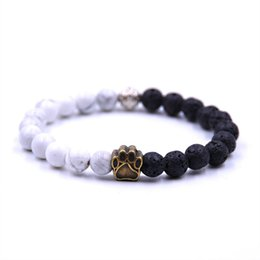 China Stone beads cat claw elastic bracelet men's lava distance ladies couple essential oil aromatherapy yoga bracelet jewelry cheap black cat jewelry sets suppliers