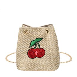 $enCountryForm.capitalKeyWord Australia - Maison Fabre Women Straw Cute Cherry Bucket Chain Single Shoulder Messenger Bag Vintage Female Casual Travel Tote
