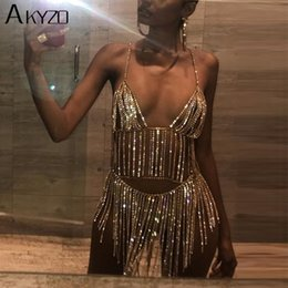 sexy metal dresses NZ - AKYZO Sexy Metal Chain Silver Rhinestone Dress Women Summer Tassel Sequins Sparkling 2 Two Piece Luxury Nightclub Party Dress MX200518