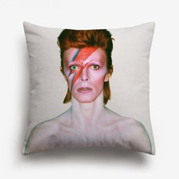 Chinese  Music POP Art Portrait Cushion Cover Watercolor Painting David Bowie Sky Cushion Covers Decorative Linen Cotton Pillow Case manufacturers