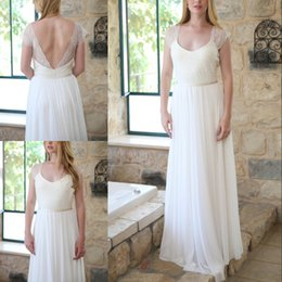 chiffon boho length wedding dress Australia - Plus Size Lace Boho A Line Wedding Dress V Neck Open Back Floor Length Cap Sleeve Chiffon Beach Bridal Wedding Gown
