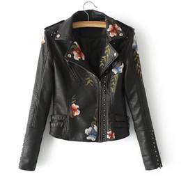 ladies motorcycles leather Australia - New Women's Coat Studded Pu Leather Embroidered Motorcycle Jacket - Ladies Slim-fit Embroidered Flower Short Biker Jacket Coat