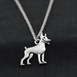 $enCountryForm.capitalKeyWord Australia - Vintage Stainless Steel Long Chain Miniature Pinscher Dog Charms Pendant Pet Love Necklace For Women Men Fashion Jewelry Choker Girls Gift