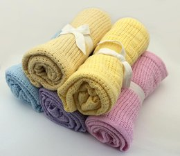 Hand Crochet Baby Blankets Australia - Crochet blanket Newborn Baby Blankets Cellular Blanket Summer Candy Color Casual Sleeping Bed Supplies Hole Wrap MMA1273