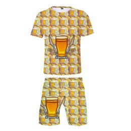 $enCountryForm.capitalKeyWord UK - Two Piece Set Beer Bubble Drinks 3D Print Trendy Summer T-shirts+Casual Shorts Trendy Streetwear Women Men 2019 Hot Sale Suit