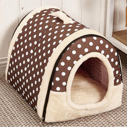 cat beds medium NZ - Dog House Nest With Mat Foldable Removable Dog Bed Cat Bed House For Small Medium Dogs Travel Pet Bed Bag