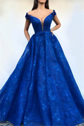 Wears off online shopping - Formal Deep V Neck Blue Evening Dresses Long Lace Applique Off the Shoulder Prom Dress A Line Party Gowns