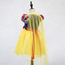 Cartoons snow prinCess online shopping - Summer Childrens Dresses Snow White Cartoon Bubble Sleeve Princess Skirt Mesh Dress