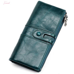 handy wallets Australia - Genuine Leather Women Clutch Wallet And Female Coin Purse Portomonee Clamp For Phone Bag Card Holder Handy Passport Holder