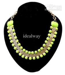 acrylic gem necklace UK - Resin Stone Gem Choker Beautiful Bib Necklace New European Style Gold Tone Metal 4 colors mix