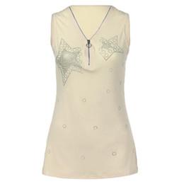 Zipper Tanks Australia - Large Size Tank Zipper Fashion Summer T-Shirt Women Plus Size Sleeveless Slim V Neck Tops Sexy Elegant Casual Camis Rhinestone