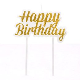 baby birthday candles UK - heap Cake Decorating Supplies 1pc Gold Silver New Shiny Gold Powder Happy Birthday Local Cake Decoration Letter Candle Baby Birthday Can...
