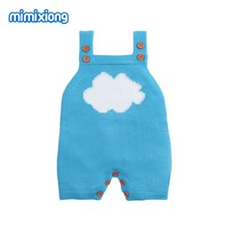 rompers for boy babies Canada - Summer Overalls For Children Sleeveless Jumpsuits Cartoon Cloud Knitted Newborn Baby Girl Rompers Summer Infant Boy Sunsuit Tops J190524