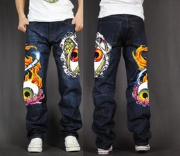 skate light NZ - Men's Long Pants Baggy Loose Fit Jeans Rap Hip Hop Skate Denim Totem Print Trousers Straight Stretch Casual Trousers Eyes