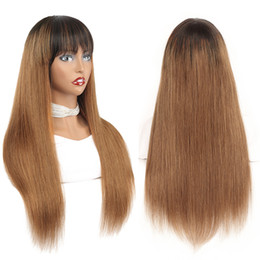 dark brown human hair lace wigs 2021 - 1B 30 Natural Hair Wig Brazilian Remy Straight Glueless Human Hair Wigs With Bangs Fringe For Black Women Blonde Ombre N