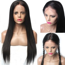 beautiful lace wigs for brazilian hair 2019 - Beautiful unprocessed remy raw virgin human hair long natural color silky straight full lace top cap wig for beautiful l