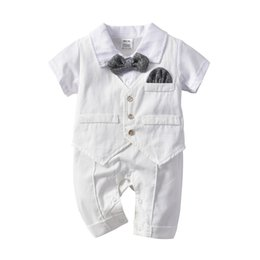 $enCountryForm.capitalKeyWord UK - New INS Toddler Baby Boys Gentleman Rompers with Vest and Bow Tie 3pcs In One Cotton Summer Spring Casual Stripes Patchwork Jumpsuits 0-2T