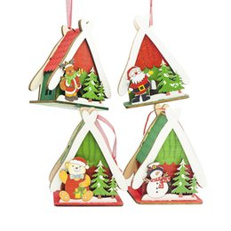 small wood house UK - Festival Small Wood House Christmas Tree Decorations For Room decoration home decoration accessories