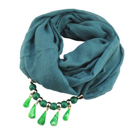 $enCountryForm.capitalKeyWord Australia - 2019 Fashion new solid color beads pendant ladies scarf jewelry necklace scarf free shipping