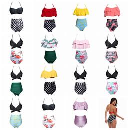 796503e96d9 15styles Women Waist Polka Dot Bikini Sexy Print Swimwear Summer Beachwear  Lotus Leaf Floral Bra Set Swimsuit Bathing Suits 50lots AAA357