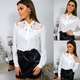 Discount chiffon long sleeve tee shirts - New Spring Women Long Sleeve Floral Lace Hollow Out Elegant Long Sleeve Shirts Loose White Tee Tops Blouses