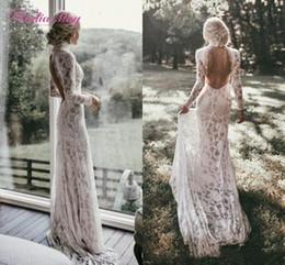 Ingrosso Boemia High Neck A-Line abito da sposa spiaggia sirena pizzo pieno maniche lunghe abiti da sposa sexy backless boho country abito da sposa plus size