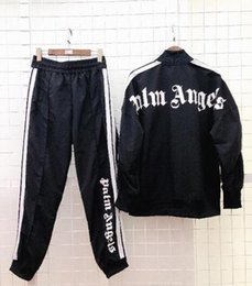 Wholesale New Palm Angels Tracksuit Men Women Vintage Sports Sweatsuit Fashion Striped Jacket Pants Sportswear Jogging Gym Sweat Suits
