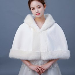 Fallen Hats Australia - Stunning Fall Winter Fur Bridal Coat Wraps Jackets with Hat Cheap 2019 Bridal Wraps Warm Newest Waist Length Wedding Cloak Capes Bolero