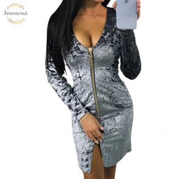 velvet clothing line Australia - Spring Women Dress Warm Zipper Fashion Long Sleeve Velvet Dresses Party Vestidos Sexy Sheath Bodycon Dress Clubwear Designer Clothes