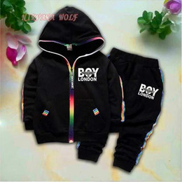 $enCountryForm.capitalKeyWord Australia - BOY Kids Cardigan Coats And Pants 2Pcs sets 1-4T Children Sports Sets Rainbow Zipper Long Sleeve Colorful Striped Letters Printing Style.