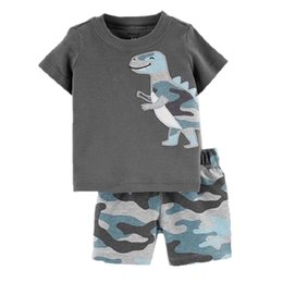 cover crystal set UK - Camouflage Baby Boys Clothes Suit Summer Dino T-Shirts + Camo Shorts Pants Sets Casual Boy Outfit Cotton Sets Tops 6 9 12 18 24 Month