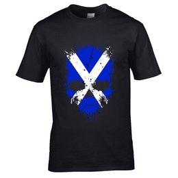 Wholesale Aged Dripping Gothic Skull Scotland Scottish Saltire flag mens t shirt gift
