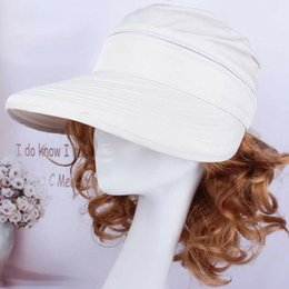 lady korean summer hat 2019 - Korean Style Hiking Bowknot Visors Outdoor Sun Hat Fashion Ladies Solid Foldable Cap Summer Beach Practical Travel cheap