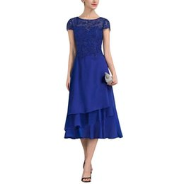 $enCountryForm.capitalKeyWord UK - 2019 New A-Line Chiffon Lace Mother of The Bride Dresses Cap Sleeves Tea Length Evening Formal Party Dress Wedding Guest Gowns